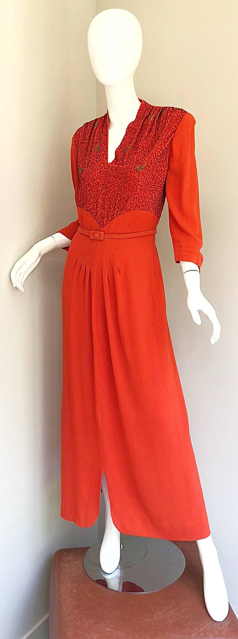 1940s Kornhauser Original Burnt Orange Beaded Vintage 40s Couture Crepe Gown For Sale 8