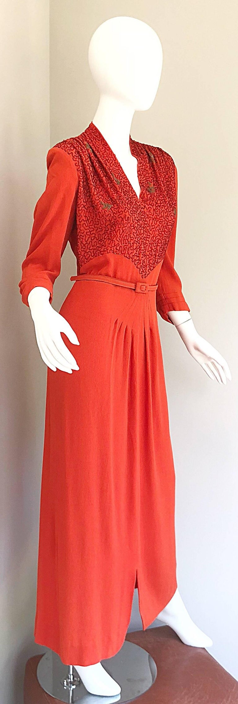 fb007ba757ff 1940s Kornhauser Original Burnt Orange Beaded Vintage 40s Couture Crepe Gown  For Sale 9