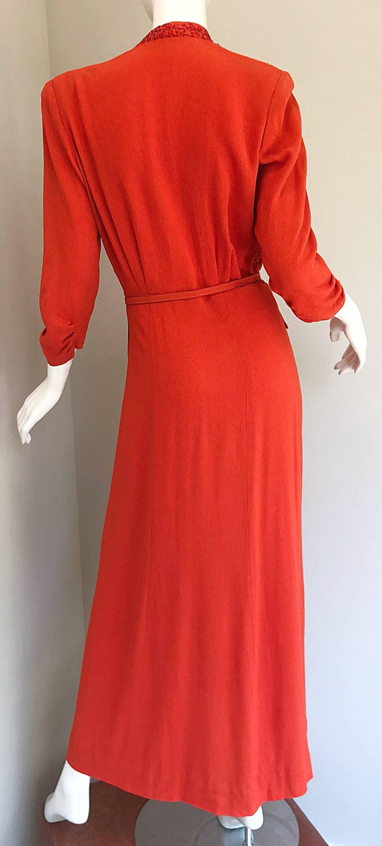 9f5b074462bf 1940s Kornhauser Original Burnt Orange Beaded Vintage 40s Couture Crepe Gown  For Sale 10