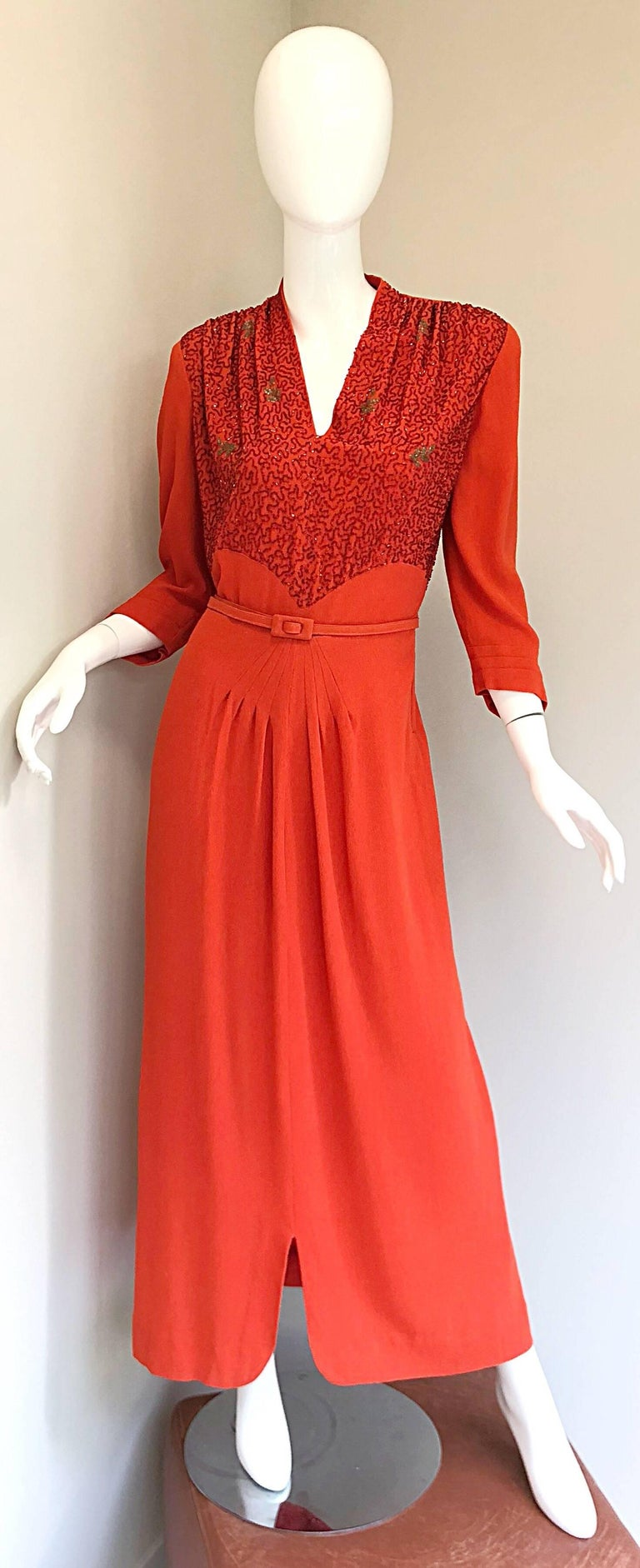 ca95e0d05e53 1940s Kornhauser Original Burnt Orange Beaded Vintage 40s Couture Crepe Gown  For Sale 11