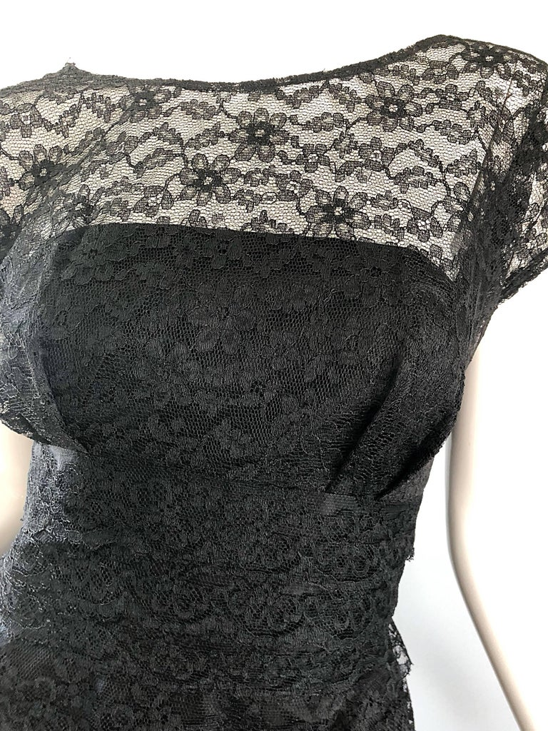 Chic 1950s Black French Lace Nude Illusion Vintage 50s Silk Dress In Excellent Condition For Sale In Chicago, IL