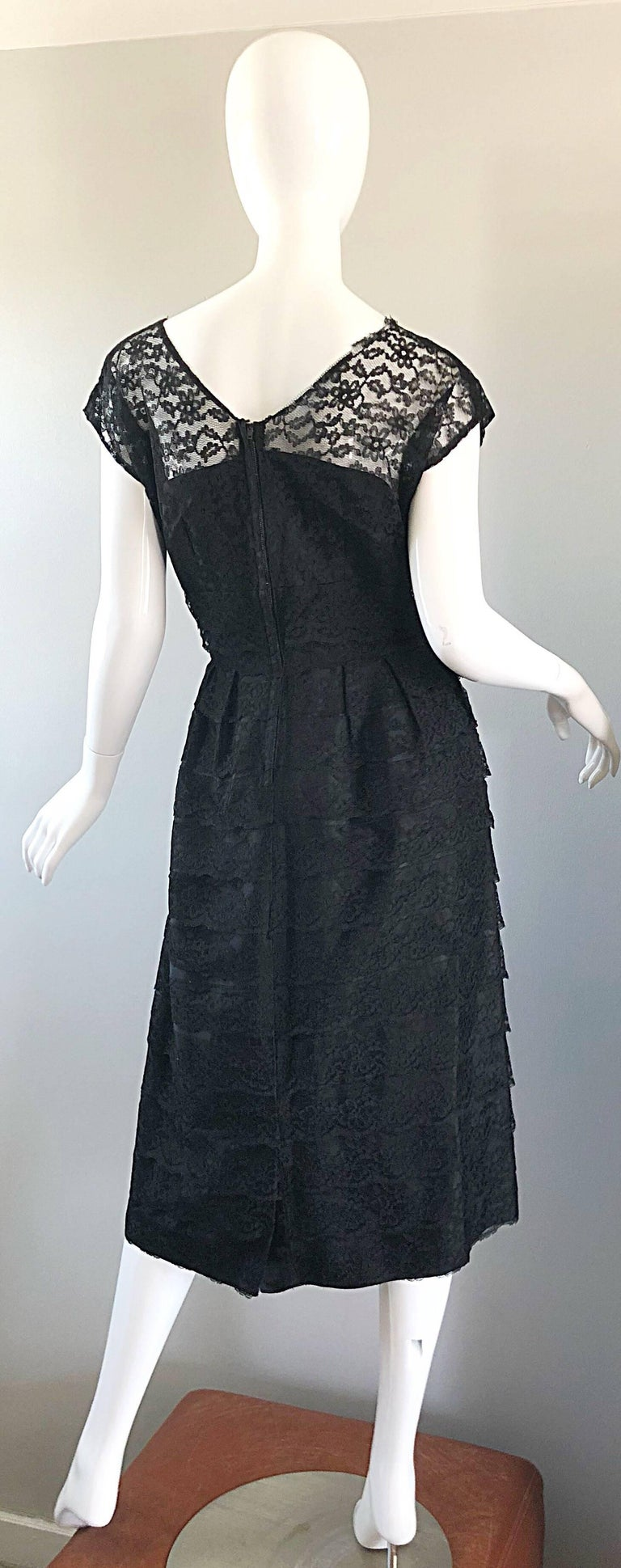 Women's Chic 1950s Black French Lace Nude Illusion Vintage 50s Silk Dress For Sale