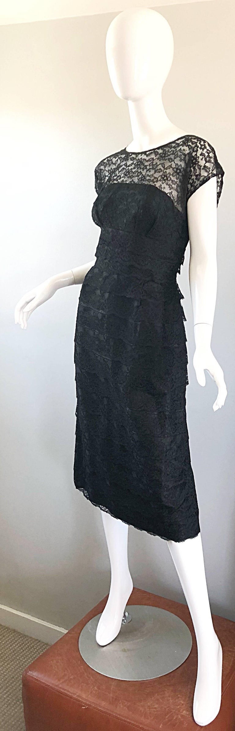 Chic 1950s Black French Lace Nude Illusion Vintage 50s Silk Dress For Sale 1
