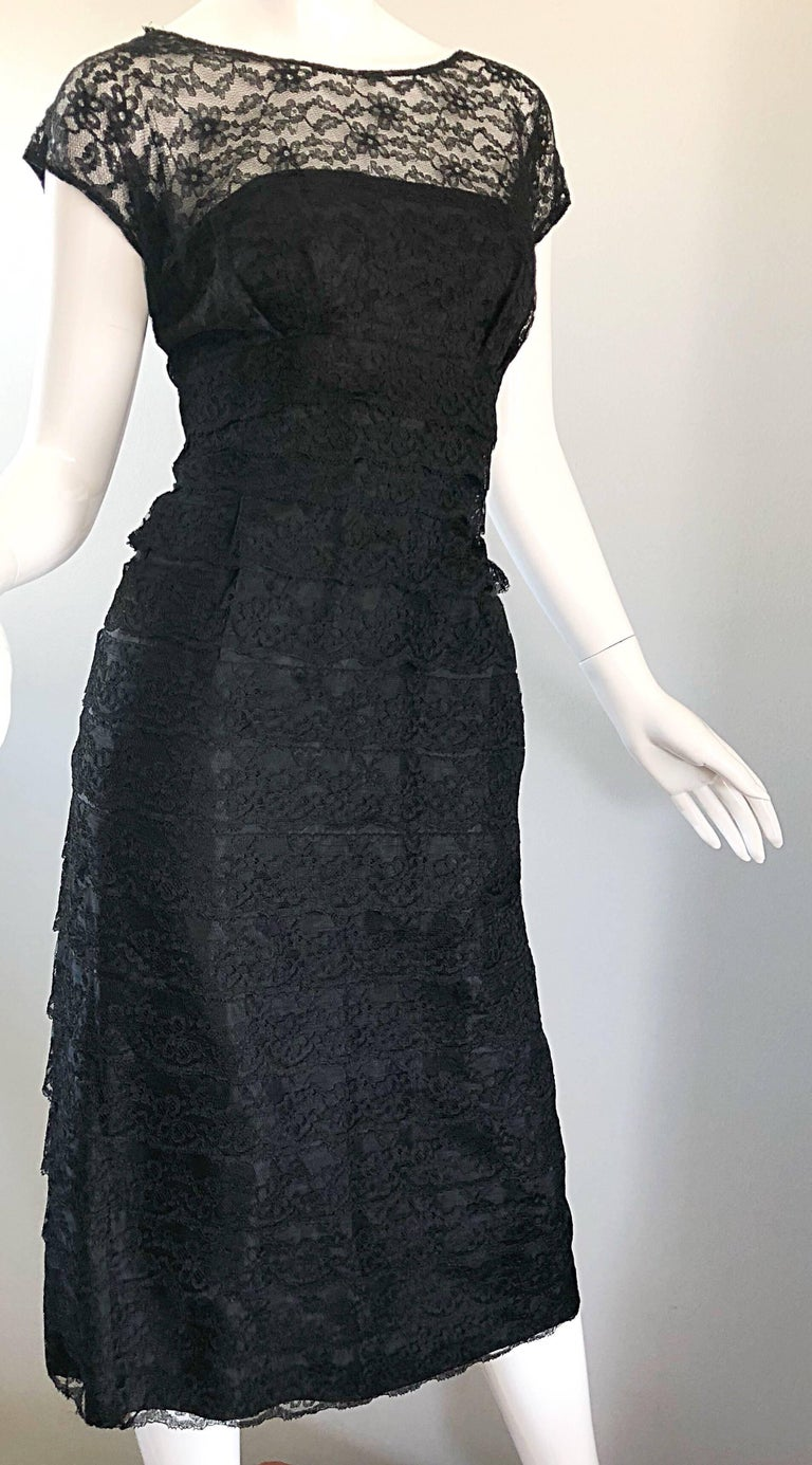Chic 1950s Black French Lace Nude Illusion Vintage 50s Silk Dress For Sale 2