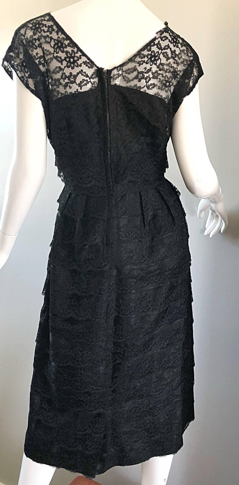 Chic 1950s Black French Lace Nude Illusion Vintage 50s Silk Dress For Sale 3