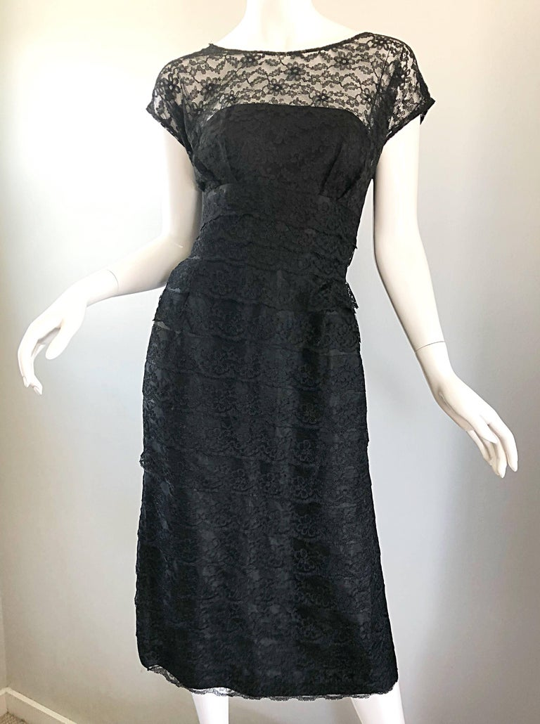 Chic 1950s Black French Lace Nude Illusion Vintage 50s Silk Dress For Sale 4