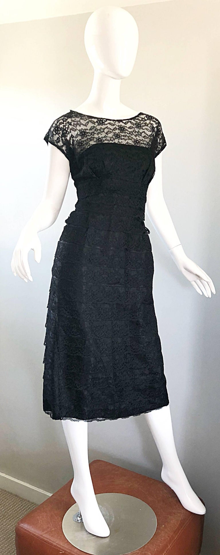 Chic 1950s Black French Lace Nude Illusion Vintage 50s Silk Dress For Sale 5
