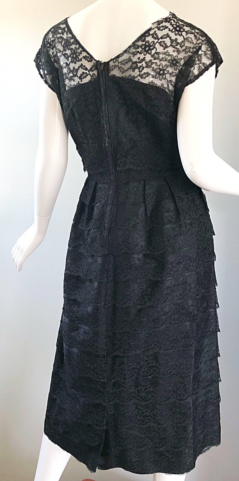 Chic 1950s Black French Lace Nude Illusion Vintage 50s Silk Dress For Sale 6