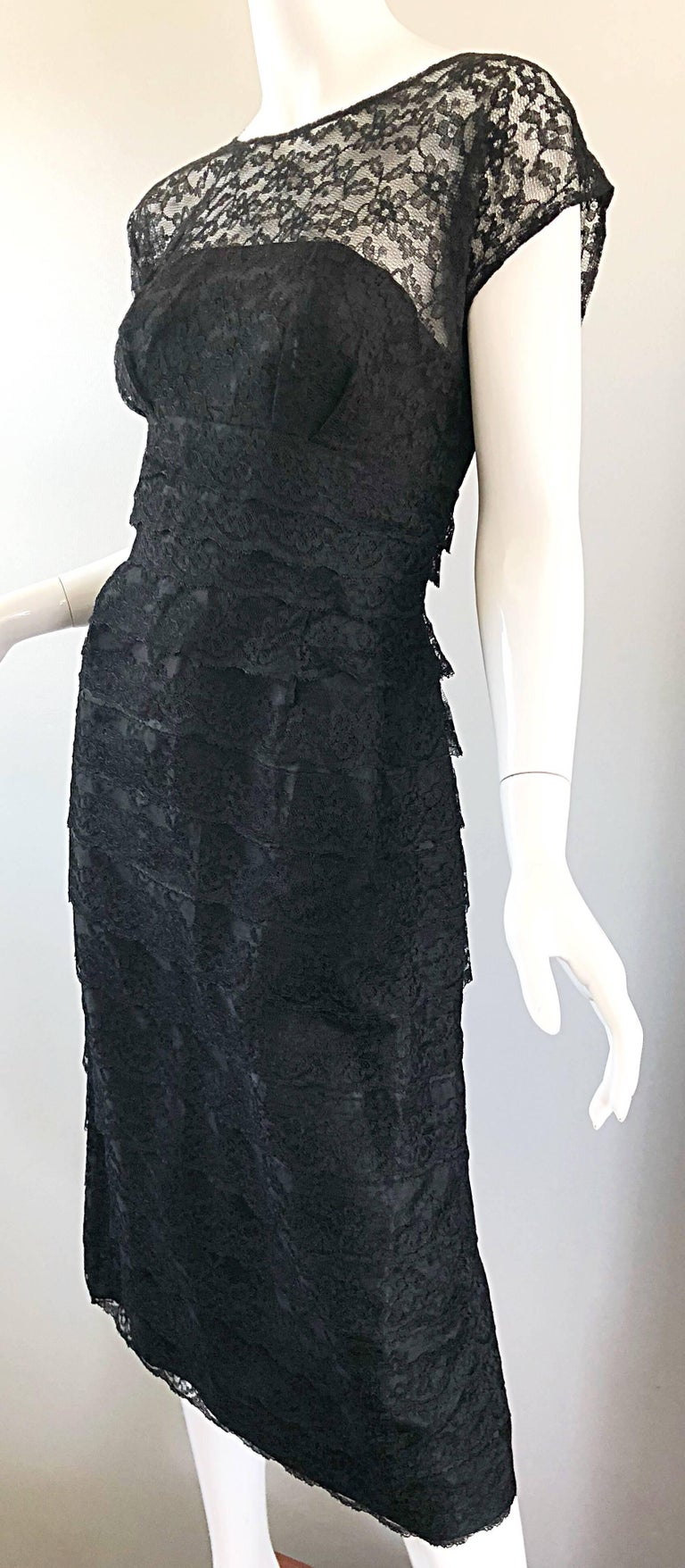 Chic 1950s Black French Lace Nude Illusion Vintage 50s Silk Dress For Sale 7