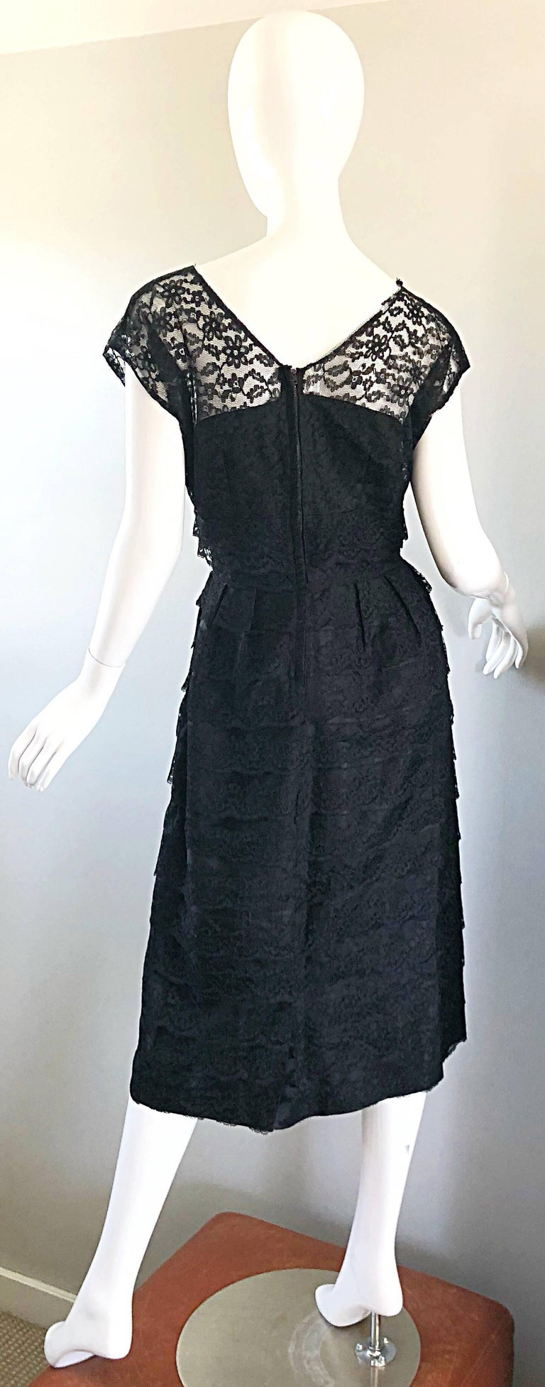 Chic 1950s Black French Lace Nude Illusion Vintage 50s Silk Dress For Sale 8