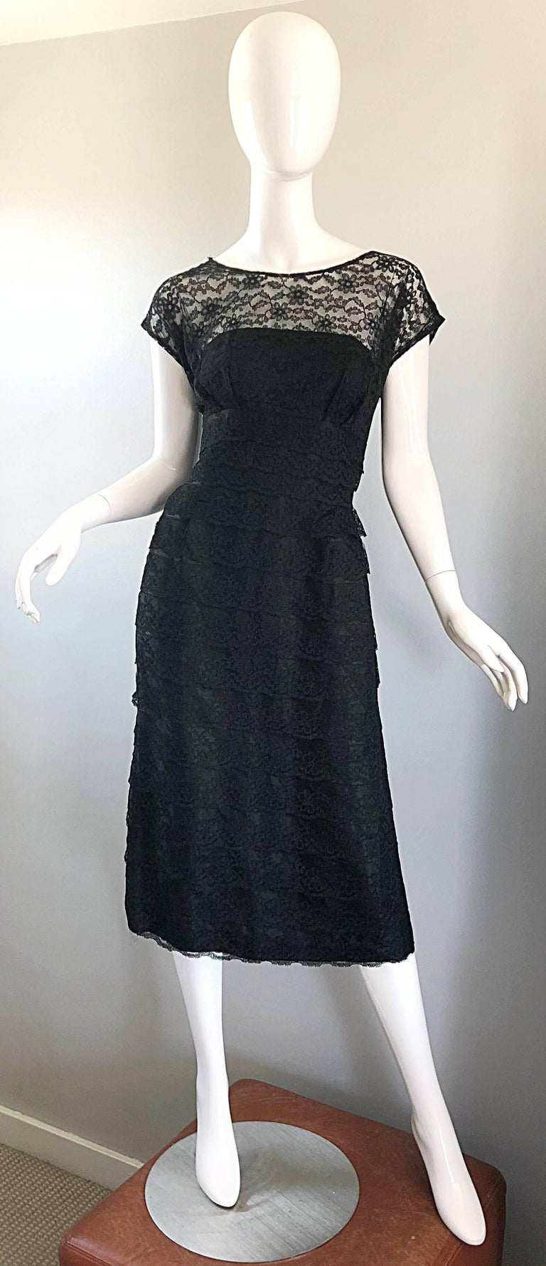Chic 1950s Black French Lace Nude Illusion Vintage 50s Silk Dress For Sale 9