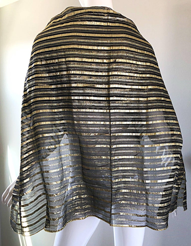 Vintage Christian Dior Large Gold + Black Silk Metallic Beautiful Shawl Scarf In Excellent Condition For Sale In Chicago, IL