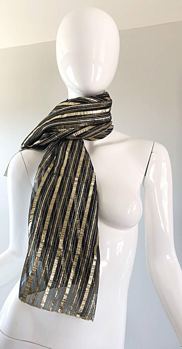 Women's or Men's  Vintage Christian Dior Large Gold + Black Silk Metallic Beautiful Shawl Scarf For Sale