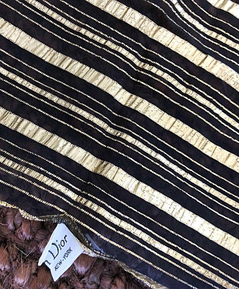 Vintage Christian Dior Large Gold + Black Silk Metallic Beautiful Shawl Scarf For Sale 1