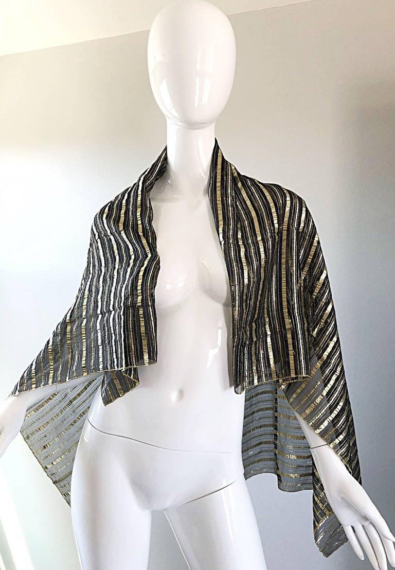 Vintage Christian Dior Large Gold + Black Silk Metallic Beautiful Shawl Scarf For Sale 2