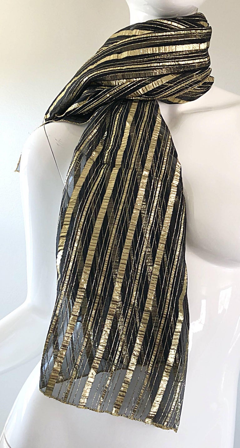 Vintage Christian Dior Large Gold + Black Silk Metallic Beautiful Shawl Scarf For Sale 3