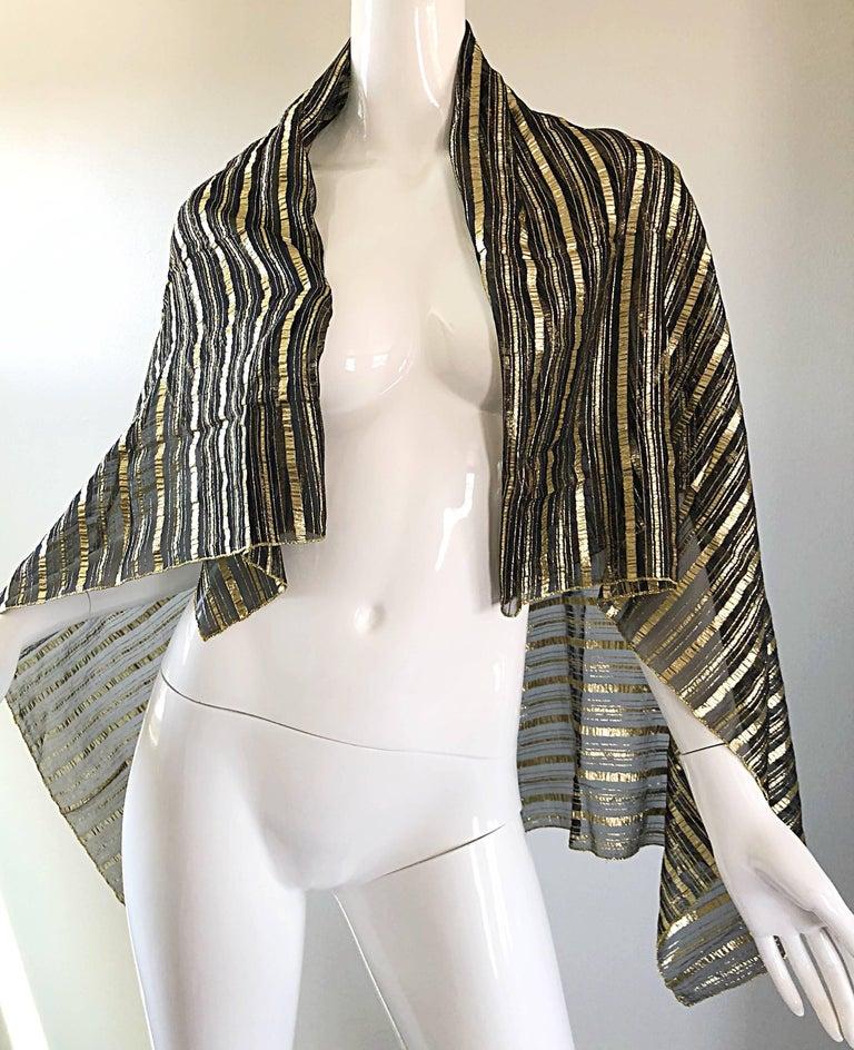 Vintage Christian Dior Large Gold + Black Silk Metallic Beautiful Shawl Scarf For Sale 4