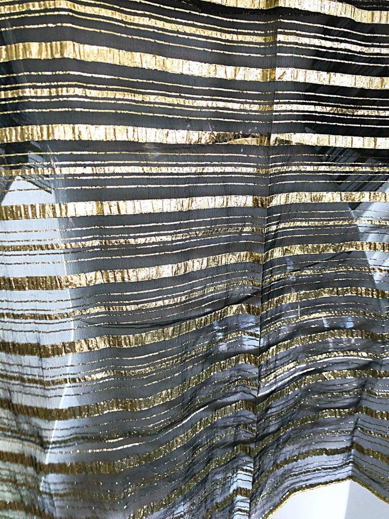 Vintage Christian Dior Large Gold + Black Silk Metallic Beautiful Shawl Scarf For Sale 5