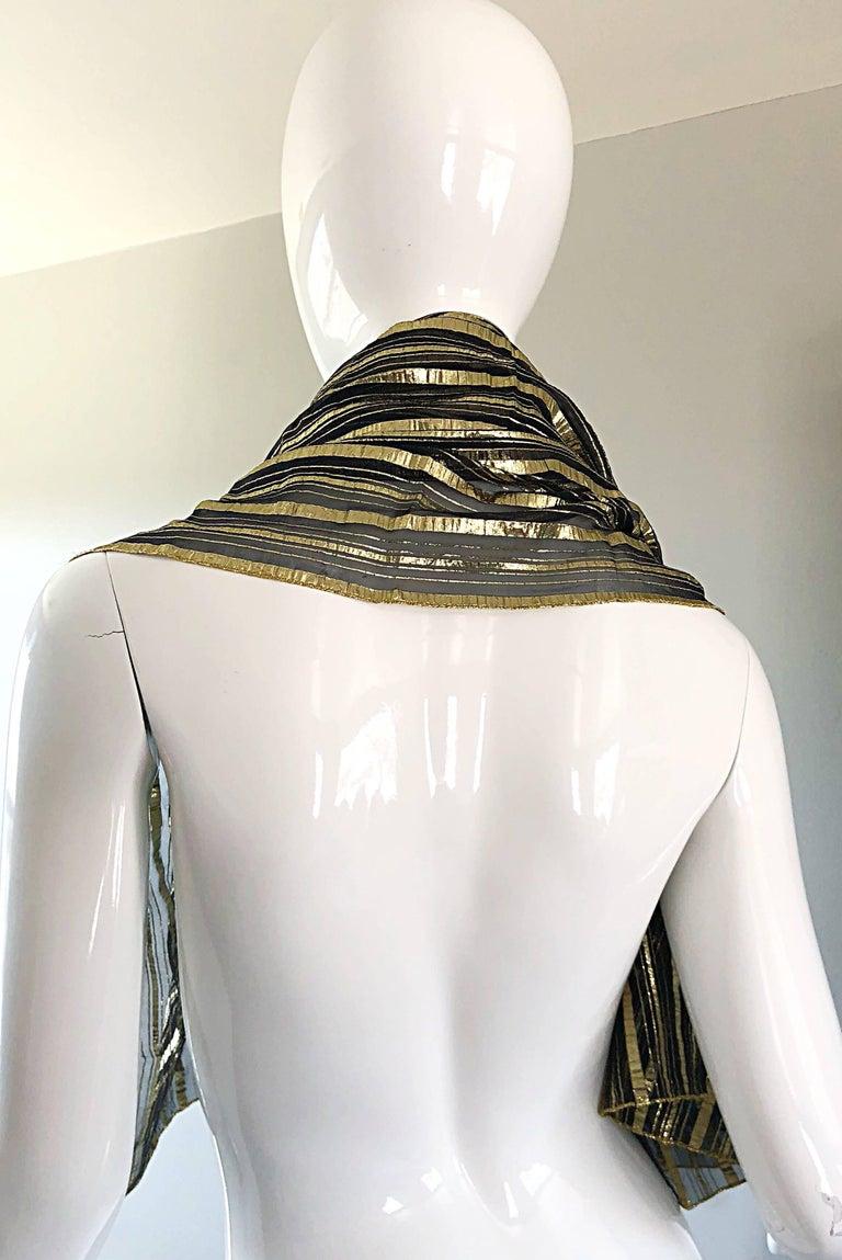 Vintage Christian Dior Large Gold + Black Silk Metallic Beautiful Shawl Scarf For Sale 6