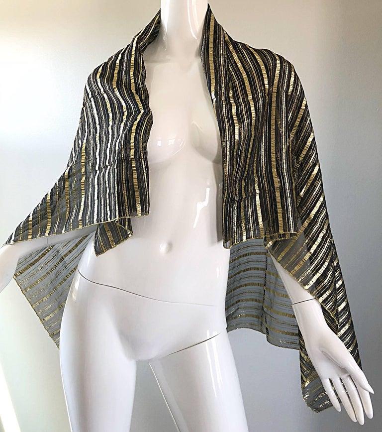 Vintage Christian Dior Large Gold + Black Silk Metallic Beautiful Shawl Scarf For Sale 7