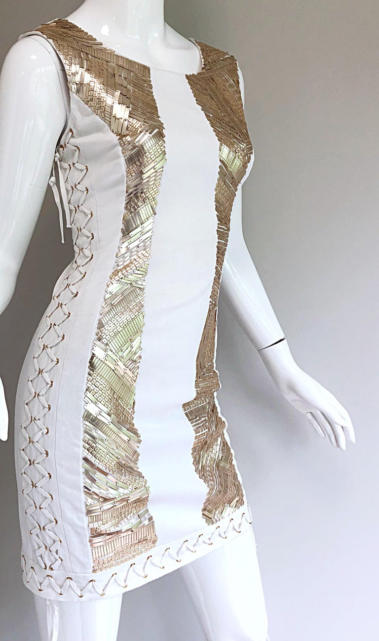 Pierre Balmain New w/ Tags White + Gold Sequined Lace Up Sleeveless Mini Dress In New Condition For Sale In Chicago, IL