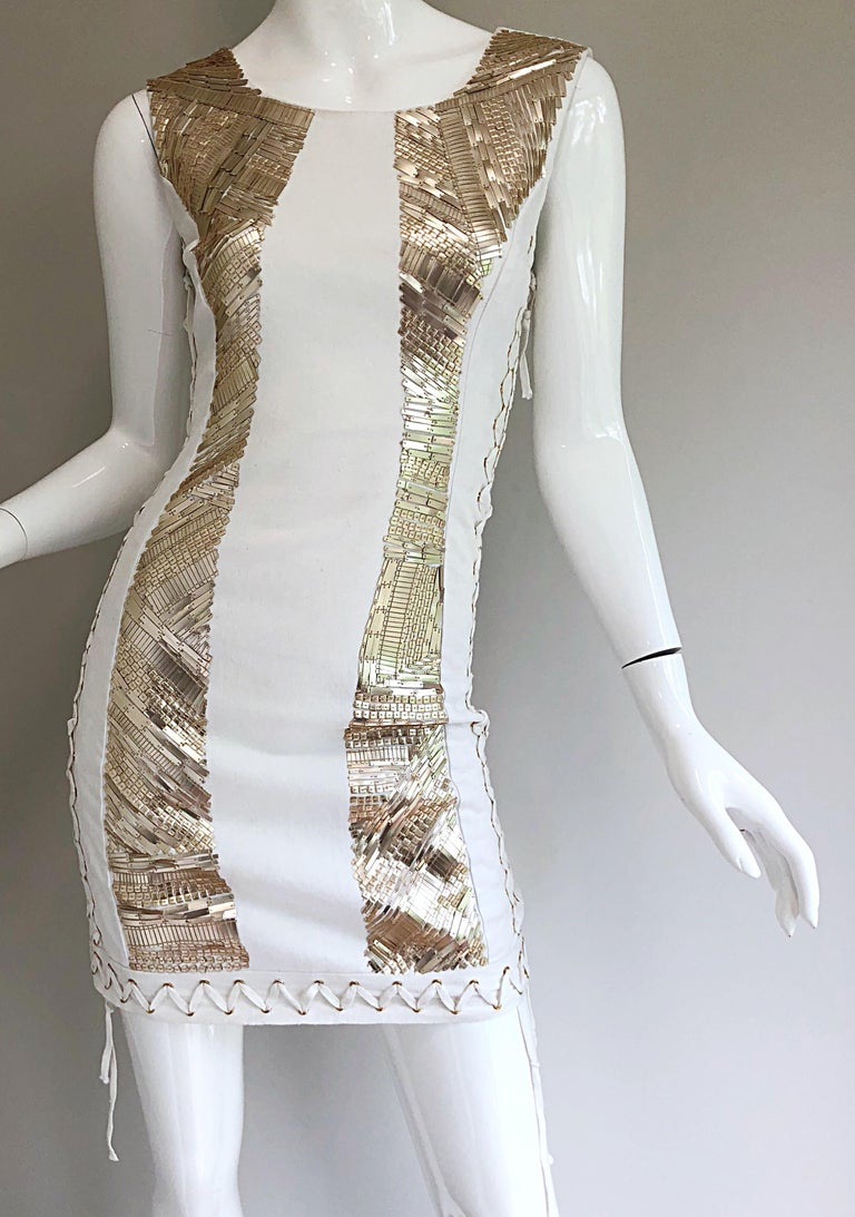 Pierre Balmain New w/ Tags White + Gold Sequined Lace Up Sleeveless Mini Dress For Sale 1