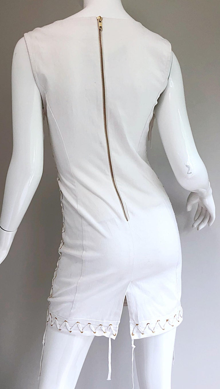 Pierre Balmain New w/ Tags White + Gold Sequined Lace Up Sleeveless Mini Dress For Sale 2