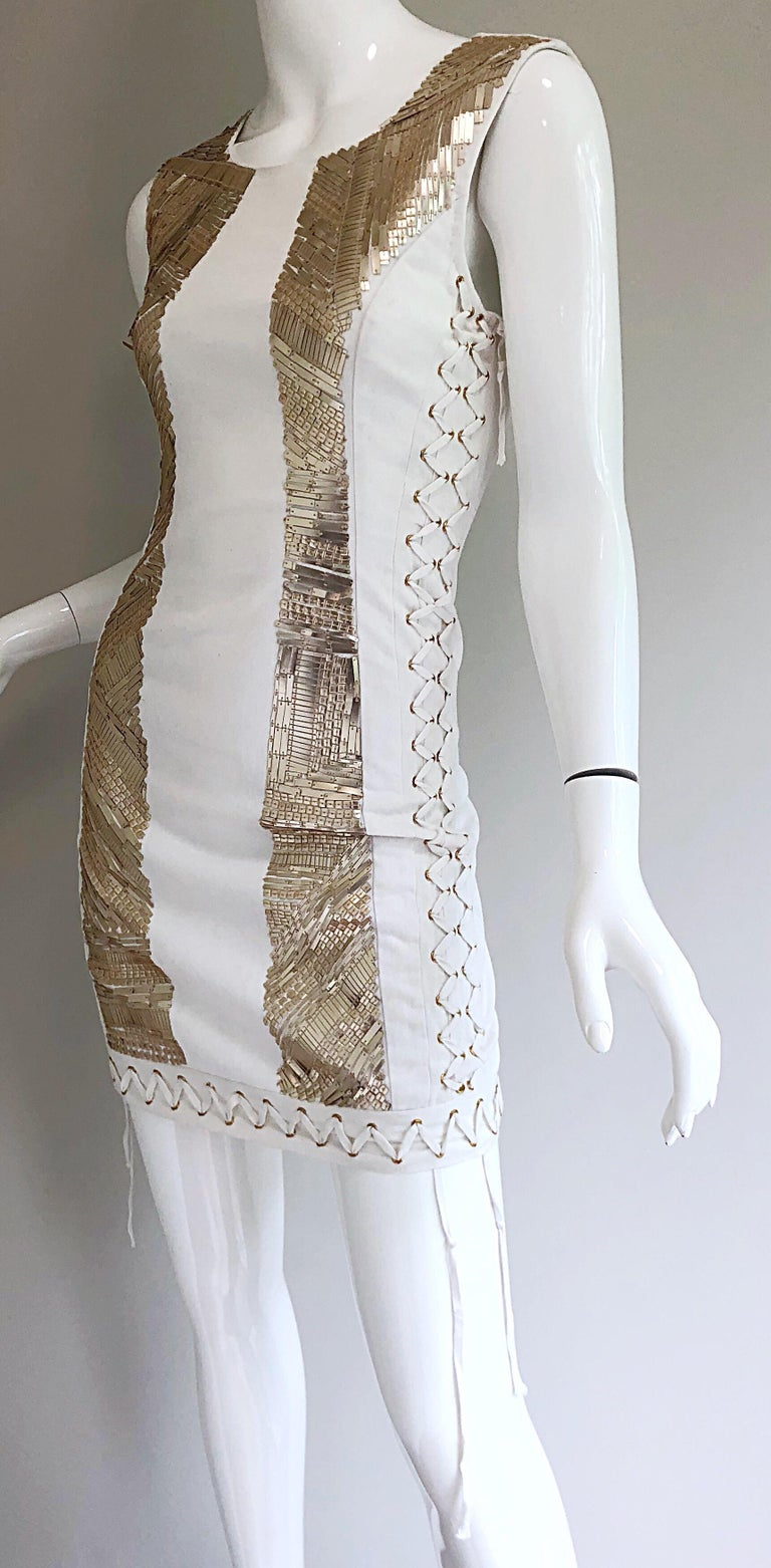 Pierre Balmain New w/ Tags White + Gold Sequined Lace Up Sleeveless Mini Dress For Sale 3