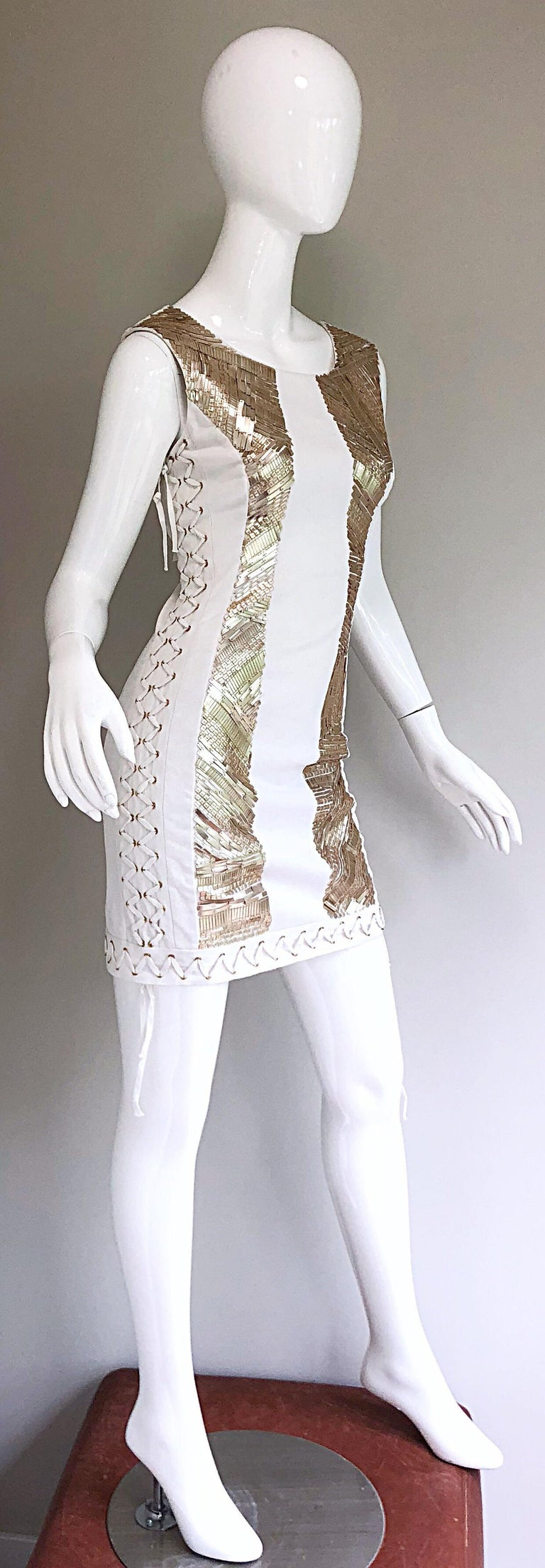 Pierre Balmain New w/ Tags White + Gold Sequined Lace Up Sleeveless Mini Dress For Sale 5