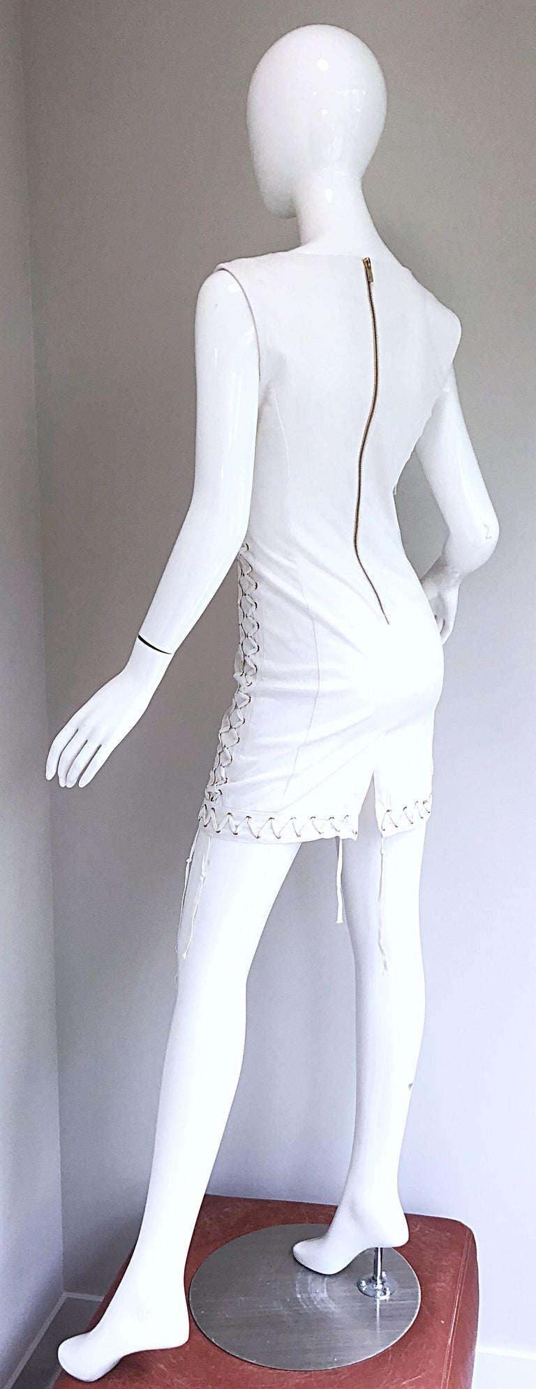 Pierre Balmain New w/ Tags White + Gold Sequined Lace Up Sleeveless Mini Dress For Sale 6