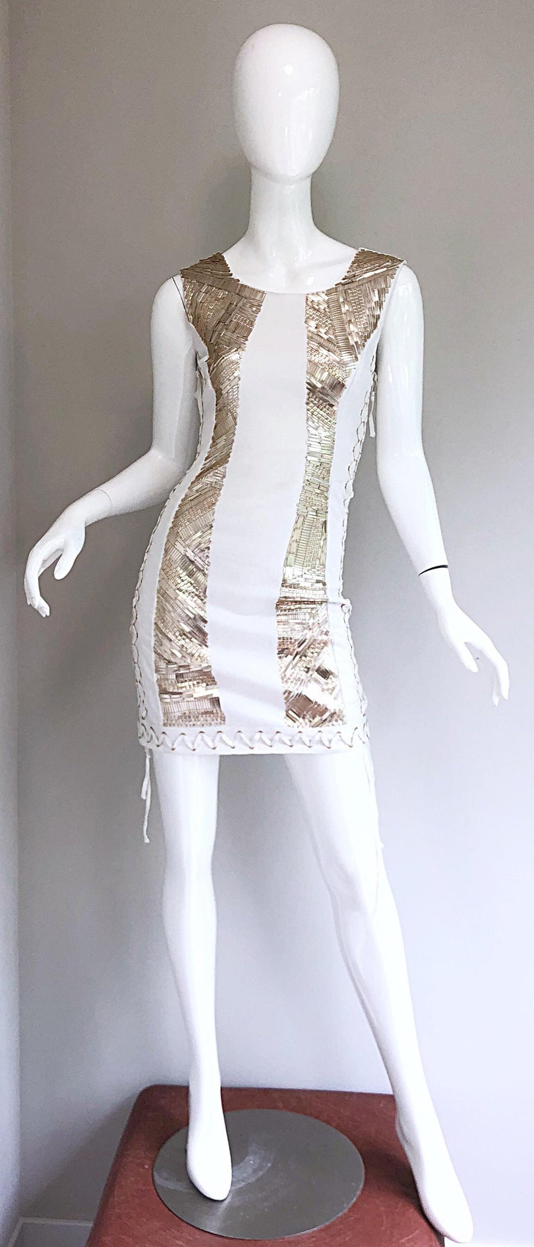 Pierre Balmain New w/ Tags White + Gold Sequined Lace Up Sleeveless Mini Dress For Sale 8