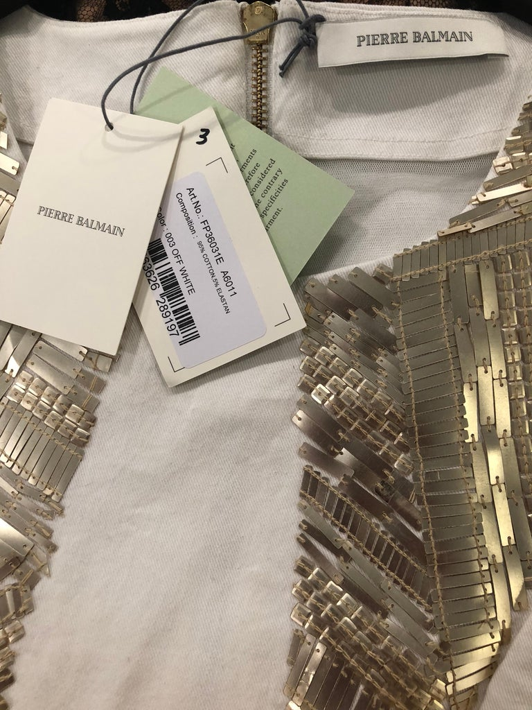 Pierre Balmain New w/ Tags White + Gold Sequined Lace Up Sleeveless Mini Dress For Sale 9