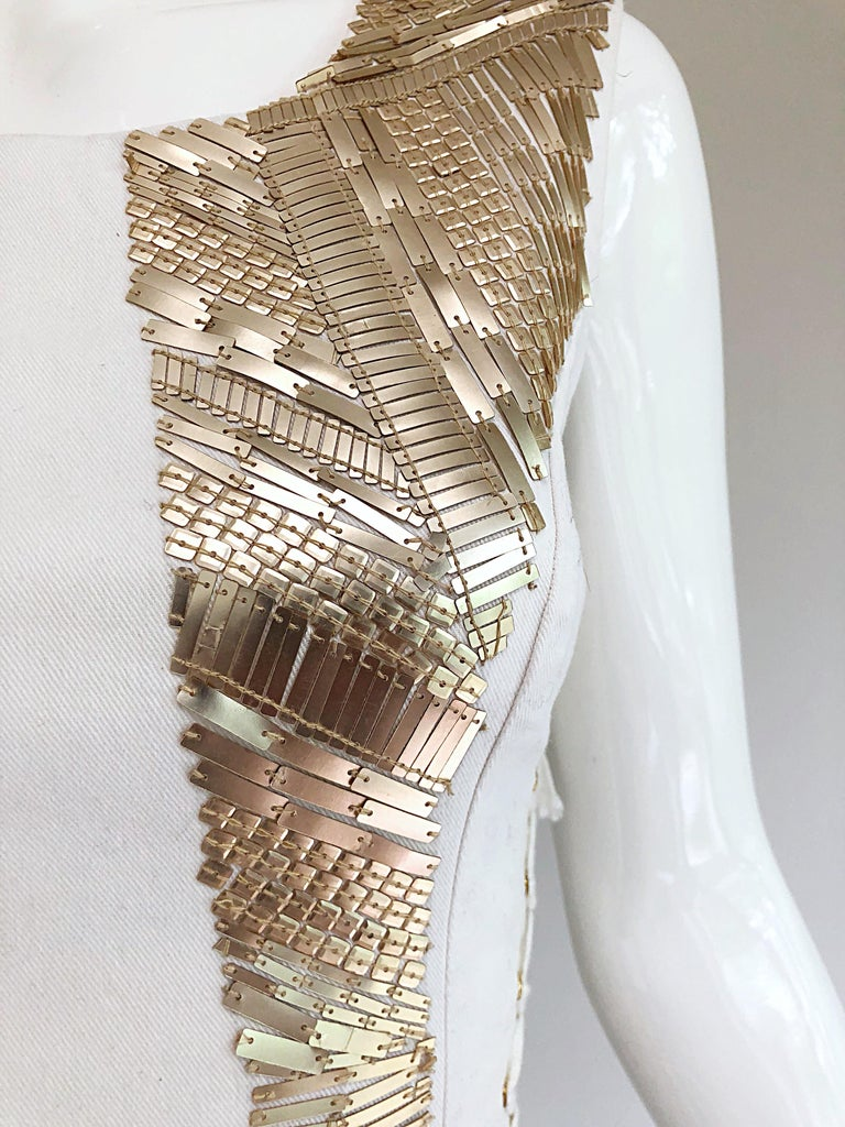 Gray Pierre Balmain New w/ Tags White + Gold Sequined Lace Up Sleeveless Mini Dress For Sale