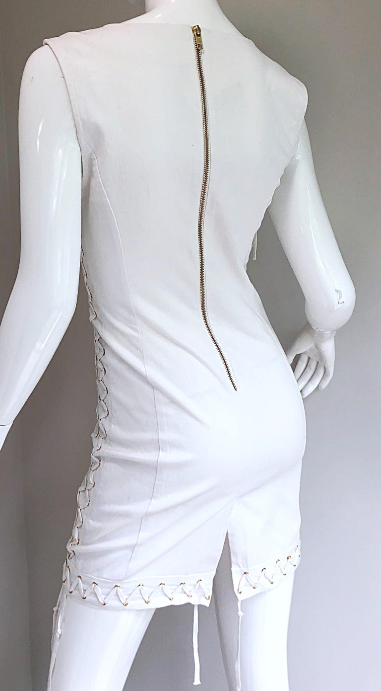 Women's Pierre Balmain New w/ Tags White + Gold Sequined Lace Up Sleeveless Mini Dress For Sale