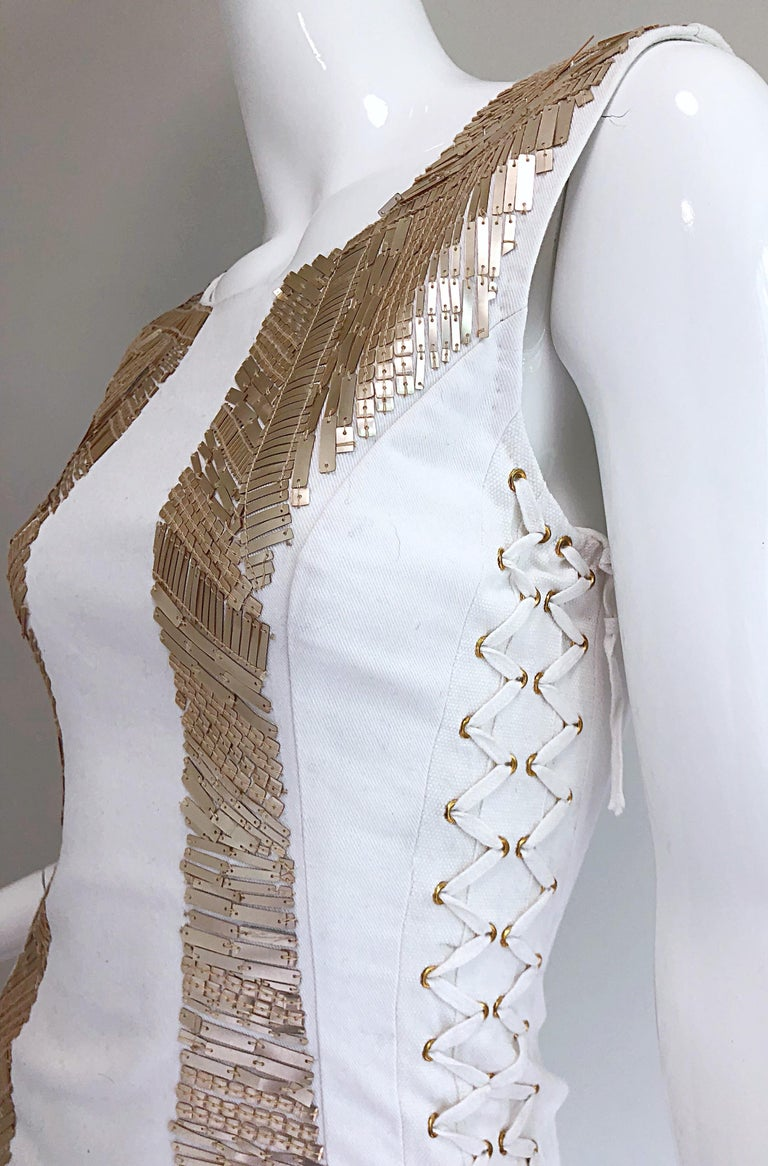 Pierre Balmain New w/ Tags White + Gold Sequined Lace Up Sleeveless Mini Dress For Sale 4