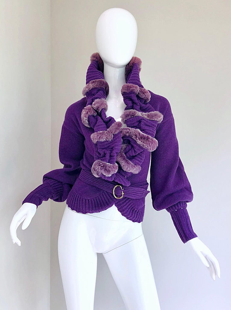 Chic early 2000s ROBERTO CAVALLI regal purple luxurious fur and soft virgin wool belted cardigan sweater! Avant Garde style with luxurious fur trim. Detachable matching belt features signature Cavalli serpent buckle. Hidden snap at front center