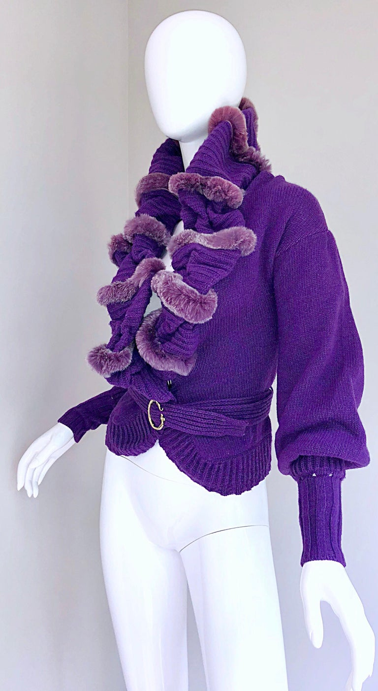 Roberto Cavalli Purple 2000s Luxurious Fur Wool Belted Cardigan Sweater Jacket In Excellent Condition For Sale In Chicago, IL