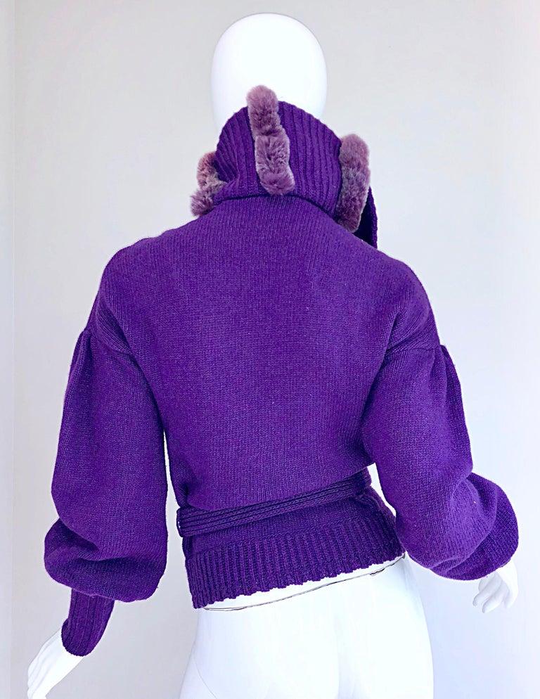 Women's Roberto Cavalli Purple 2000s Luxurious Fur Wool Belted Cardigan Sweater Jacket For Sale