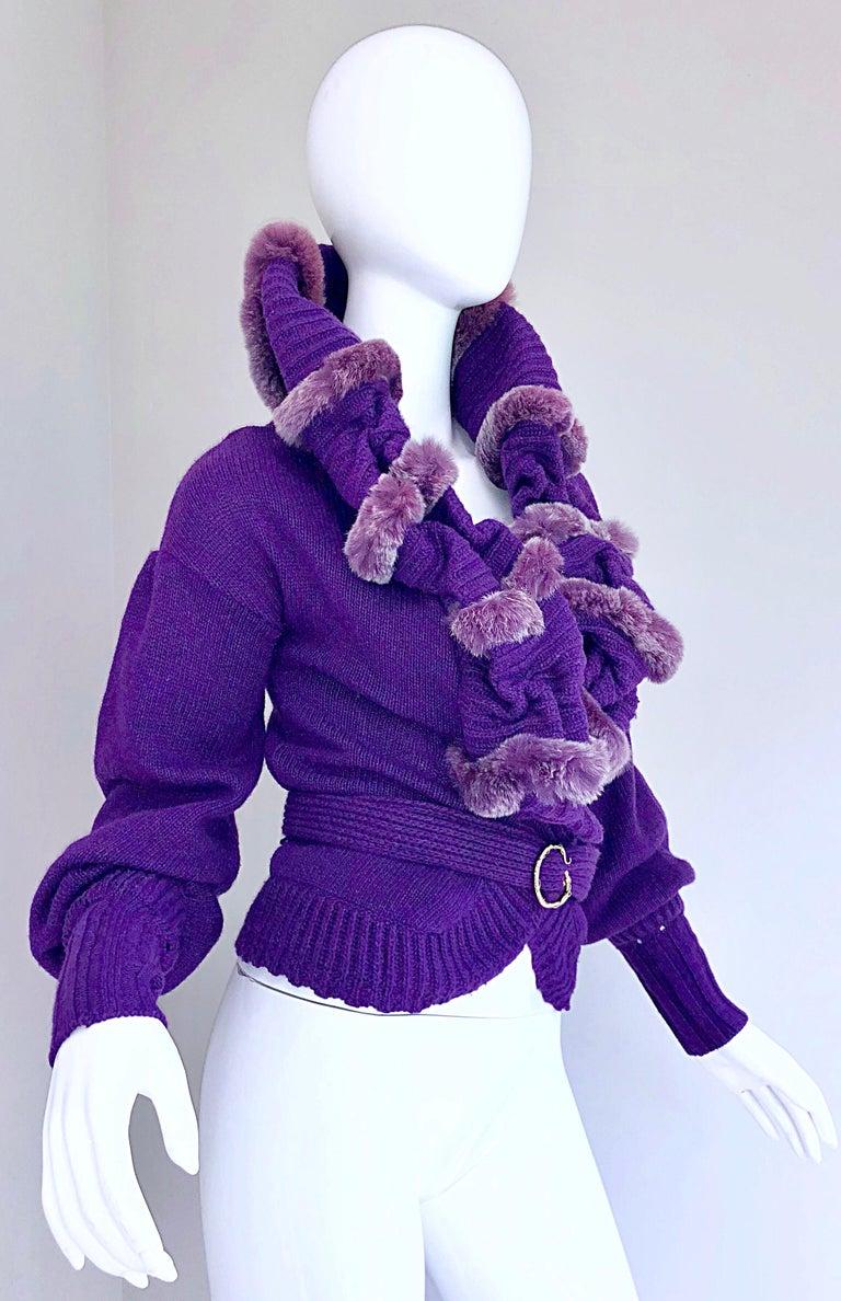 Roberto Cavalli Purple 2000s Luxurious Fur Wool Belted Cardigan Sweater Jacket For Sale 1