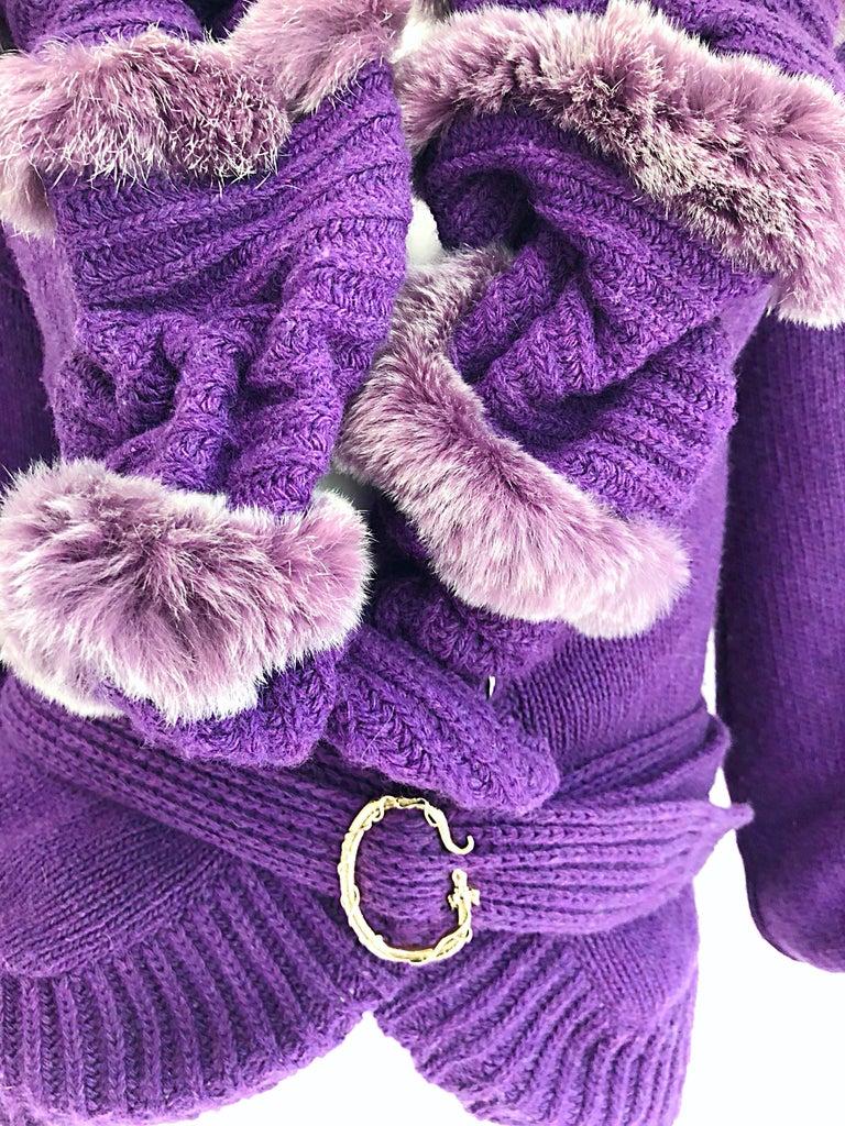 Roberto Cavalli Purple 2000s Luxurious Fur Wool Belted Cardigan Sweater Jacket For Sale 2