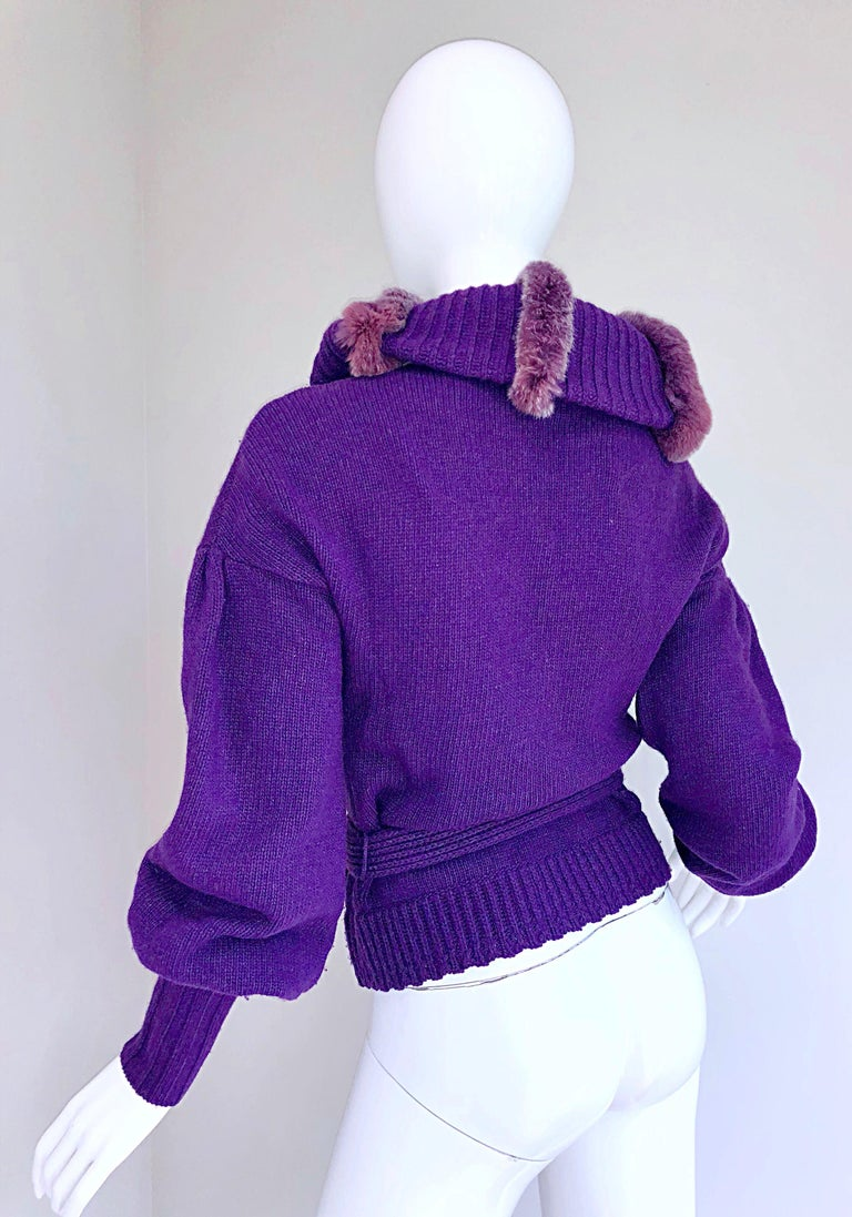 Roberto Cavalli Purple 2000s Luxurious Fur Wool Belted Cardigan Sweater Jacket For Sale 3