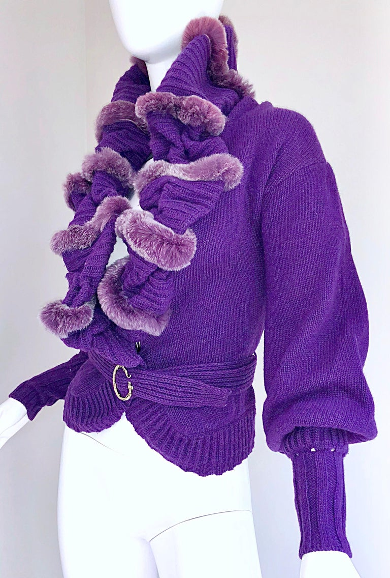 Roberto Cavalli Purple 2000s Luxurious Fur Wool Belted Cardigan Sweater Jacket For Sale 4