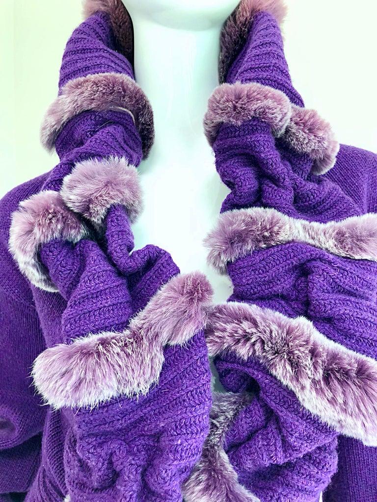 Roberto Cavalli Purple 2000s Luxurious Fur Wool Belted Cardigan Sweater Jacket For Sale 5