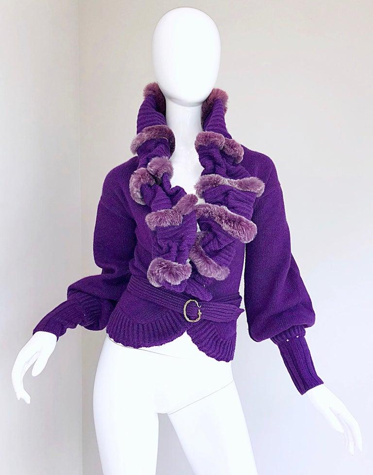 Roberto Cavalli Purple 2000s Luxurious Fur Wool Belted Cardigan Sweater Jacket For Sale 6