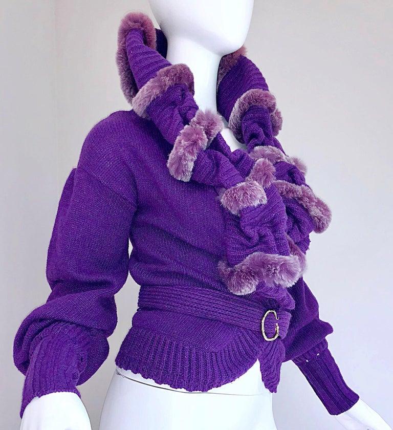Roberto Cavalli Purple 2000s Luxurious Fur Wool Belted Cardigan Sweater Jacket For Sale 7