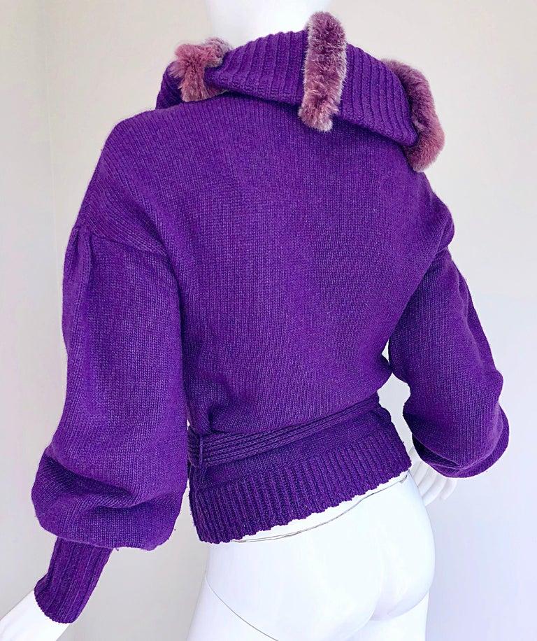 Roberto Cavalli Purple 2000s Luxurious Fur Wool Belted Cardigan Sweater Jacket For Sale 8