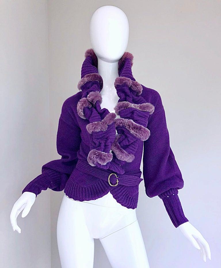 Roberto Cavalli Purple 2000s Luxurious Fur Wool Belted Cardigan Sweater Jacket For Sale 9