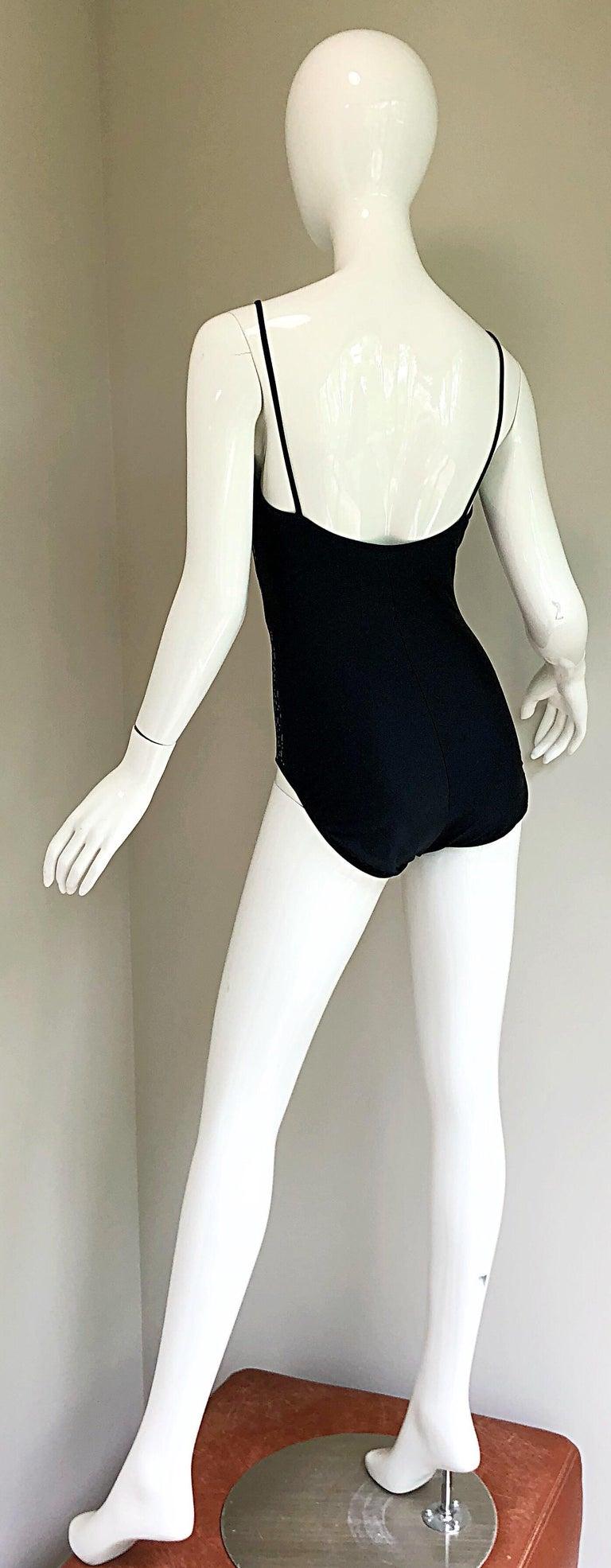 Vintage Oscar de la Renta 90s New w/ Tags Blue Green Sequined One Piece Swimsuit For Sale 3