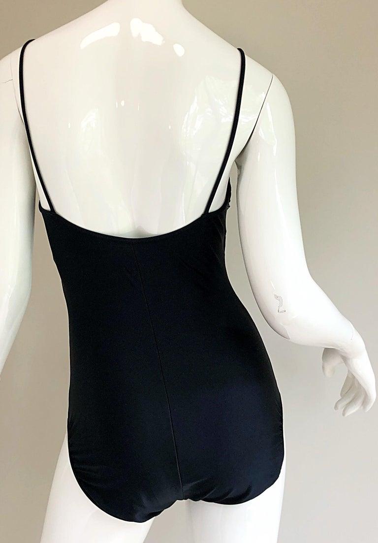 Vintage Oscar de la Renta 90s New w/ Tags Blue Green Sequined One Piece Swimsuit For Sale 6