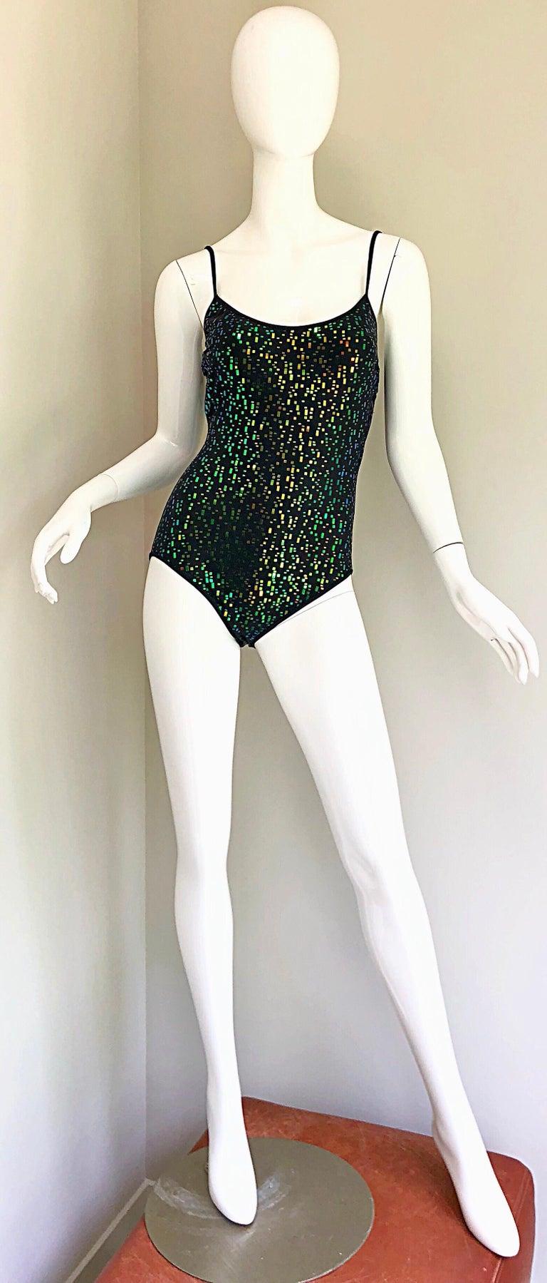 Vintage Oscar de la Renta 90s New w/ Tags Blue Green Sequined One Piece Swimsuit For Sale 8